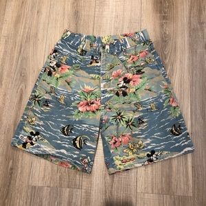 VINTAGE HIGH WAISTED TROPICAL SURFIN MICKEY SHORTS
